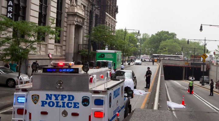 Body of a person who fell onto west street, thursday morning. photo William Farrington