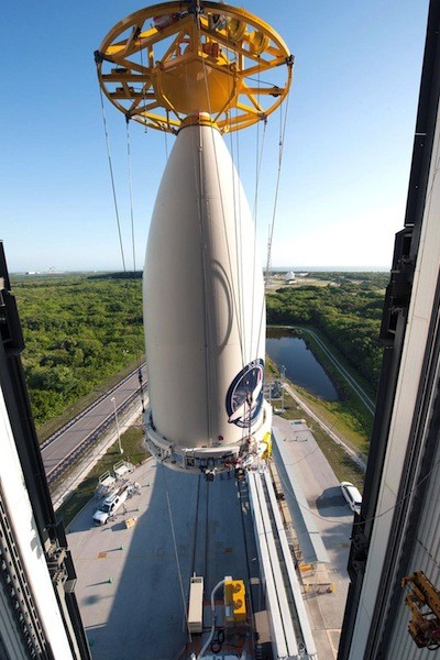 On May 13, 2015, United Launch Alliance tweeted this photo of the AFSPC-5 mission payload being mated to its launch vehicle in Cape Canaveral Air Force Station, Florida. The launch, carrying the X-37B space plane, is set for May 20.