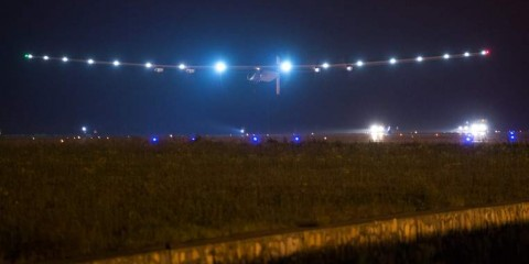 The Swiss-made solar-powered plane Solar Impluse 2 takes off from Nanjing's Lukou International Airport in Nanjing, in China's eastern Jiangsu province, early on May 31, 2015. The revolutionary Solar Impulse 2 aircraft took off early on May 31 for a six-day flight over the Pacific Ocean, the most ambitious leg of its quest to circumnavigate the globe powered only by the sun. AFP PHOTO / JOHANNES EISELE        (Photo credit should read JOHANNES EISELE/AFP/Getty Images)