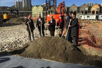 City leaders, developers, investors and immigration officials attended the groundbreaking on the Hyatt House near Portland's South Waterfront (Photo: Mike Galimanis)
