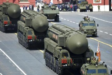 Russian RS-24 Yars/SS-27 Mod 2 solid-propellant intercontinental ballistic missiles drive during the Victory Day parade at Red Square in Moscow, Russia, May 9, 2015.  REUTERS/Host Photo Agency/RIA Novosti