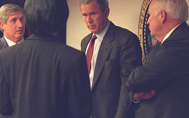 U.S. President George Bush (2nd R) is pictured with Vice President Dick Cheney (R) and senior staff in the President's Emergency Operations Center in Washington in the hours following the September 11, 2001 attacks in this U.S National Archives handout photo obtained by Reuters July 24, 2015. REUTERS/U.S. National Archives/Handout via Reuters (MILITARY POLITICS DISASTER) THIS IMAGE HAS BEEN SUPPLIED BY A THIRD PARTY. IT IS DISTRIBUTED, EXACTLY AS RECEIVED BY REUTERS, AS A SERVICE TO CLIENTS. FOR EDITORIAL USE ONLY. NOT FOR SALE FOR MARKETING OR ADVERTISING CAMPAIGNS - RTX1LQAW