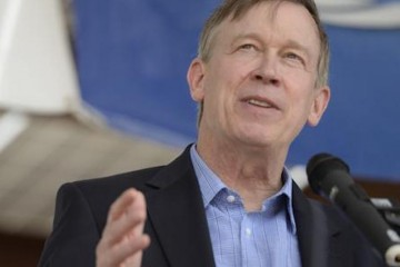 FORT COLLINS, CO - May 14: Governor John Hickenlooper talks about the new 1MW solar array Thursday, May 14, 2015 at the Intel Corpartion in Fort Collins, Colorado. Hickenlooper had a trio of events in the Fort Collins area that put him next to many of the lawmakers who signed a letter demanding change within the Department of Human Services.  (Photo By Brent Lewis/The Denver Post)