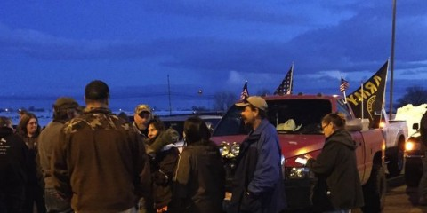 "In an event organized by the Pacific  Patriot's Network, more than a 100 people showed up Saturday evening at the start of a ""rolling rally"" in Burns, Oregon that involved driving honking cars and trucks through the town. This was the first in what is expected to be a series of protests over the law enforcement shooting death last Tuesday of Robert ""LaVoy Finicum, a participant in the takeover of the Malheur National Wildlife Refuge that began Jan. 2, 2016. Date: January 30, 2015"