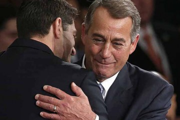 WASHINGTON, DC - OCTOBER 29:  Newly elected Speaker of the House Paul Ryan (L) (R-WI) is embraced bu outgoing Speaker of the House John Boehner (R) (R-OH) after Ryan's election to the leadership position October 29, 2015 in Washington, DC. The House elected Ryan (R-WI) as the 62nd Speaker of the House.  (Photo by Win McNamee/Getty Images)