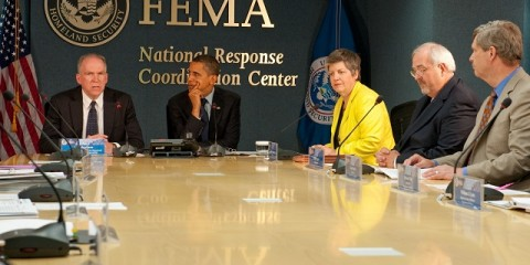 Washington, DC, May 29, 2009 -- President Obama visits FEMA headquarters to attend a meeting of the Homeland Security Counsel, FEMA Administrator W. Craig Fugate and DHS Secretary Janet Napolitano.  June 1 marks the beginning of hurricane season and Mr. Obama was briefed by Federal Agencies and Departments that are ususally involved in Hurricane response and recovery.  FEMA/Bill Koplitz
