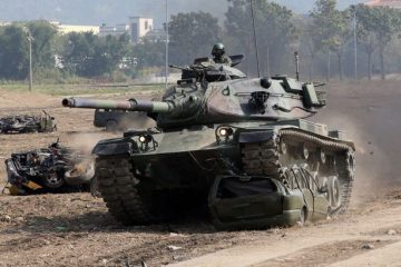 A-tank-is-seen-during-an-annual-military-drill-in-Taichung
