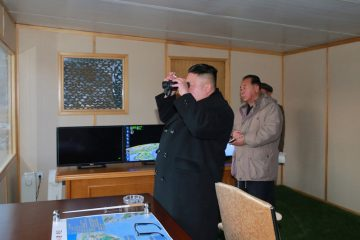 North Korean leader Kim Jong Un guides the test-fire of Pukguksong-2 on the spot, in this undated photo released by North Korea's Korean Central News Agency (KCNA) in Pyongyang February 13, 2017. KCNA/Handout via Reuters