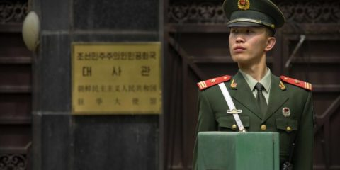A Chinese paramilitary policeman stands guard outside of the North Korean Embassy in Beijing, Thursday, April 20, 2017. The U.S. is piling the pressure on Beijing to use its clout with North Korea to rein in its nuclear and missile programs. China is the North's most important trading partner and ally, but Pyongyang has ignored Beijing's calls for a suspension of those programs and its requests for high-level bilateral talks. (AP Photo/Mark Schiefelbein)
