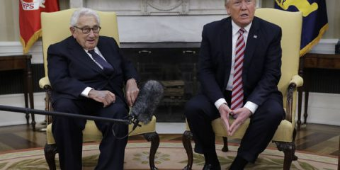 President Donald Trump meets with Dr. Henry Kissinger, former Secretary of State and National Security Advisory under President Richard Nixon, in the Oval Office of the White House, Wednesday, May 10, 2017, in Washington. (AP Photo/Evan Vucci)