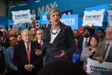 British Prime Minister Theresa May (R) is joined by Britain's Foreign Secretary Boris Johnson at a campaign event in Slough in south-east England on June 6, 2017. Britain goes to the polls on June 8 to vote in a general election only days after another terrorist attack on the nation's capital. / AFP PHOTO / POOL AND AFP PHOTO / Ben STANSALL        (Photo credit should read BEN STANSALL/AFP/Getty Images)