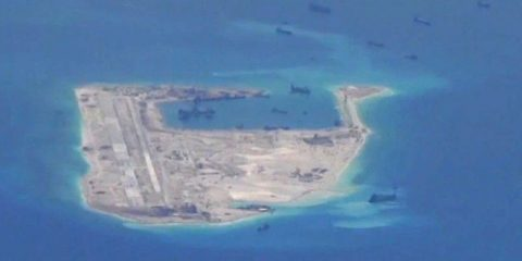 Chinese dredging vessels are purportedly seen in the waters around Fiery Cross Reef in the disputed Spratly Islands in the South China Sea in this still image from video taken by a P-8A Poseidon surveillance aircraft provided by the United States Navy May 21, 2015. U.S. Navy/Handout via Reuters/File Photo ATTENTION EDITORS - THIS PICTURE WAS PROVIDED BY A THIRD PARTY. EDITORIAL USE ONLY.     TPX IMAGES OF THE DAY      - RTX2DL2O