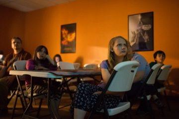 FORT COLLINS, CO - JUNE 27: Members of Flat Earth Fort Collins watch YouTube videos on the topic at a meet up on June 27, 2017 at the Purple Cup in Fort Collins, Colorado. The group is skeptical of the science behind the Earth being a spinning sphere. (Photo by Gabriel Scarlett/The Denver Post)